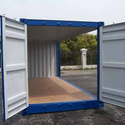 container open side 20 pieds bleu porte laterale