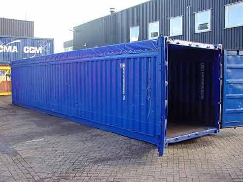 container occasion open top 40 pieds bleu