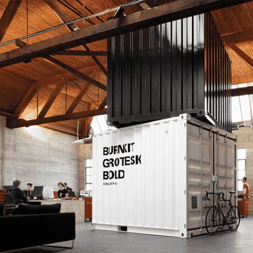 Bureau container 10 pieds et aménagement