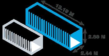 dimensiion, hauteur, largueur, capacité d'un container 40 pieds frigorifique reefer