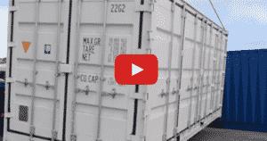 déchargement avec bras de grue d'un container open side 20 pieds