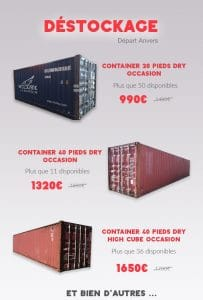 Promotion containers maritimes 20 pieds 40 pieds Goliat Anvers