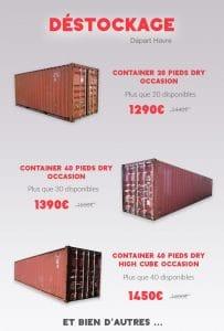 Promotion Containers maritimes 20 pieds 40 pieds Goliat départ Havre
