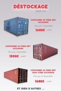Promotions containers maritimes départ de Lyon